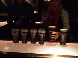 Learning how to pour the perfect pint at the Guinness Storehouse, Rachel - March 2014