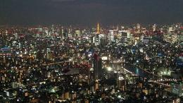 Tokyo, Japan from Skytree Tower at Night looking at Tokyo Tower , Timothy M - February 2018