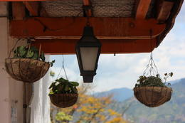 Baskets hanging from a balcony in Pueblito Paisa., Bandit - September 2012