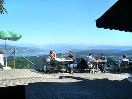 The view from the restaurant up at Felsenegg with Lake Zurich in background, Victoria R - August 2008