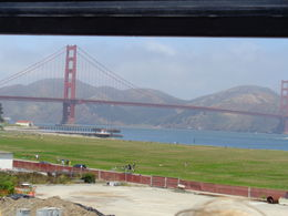 View of Golden Gate Bridge from top deck of bus , Lana C - June 2016