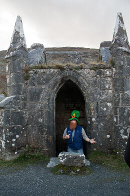 Our tour guide joking around at a leprechaun house for a photo op. , Alexis M - January 2014