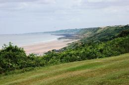 View from cemetery down to beach. Americans were like shooting fish in a barrel for the Germans., Timothy H - July 2009