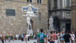 Replication of the statue of David outside the Uffizi Gallery., Sadaf R - June 2008