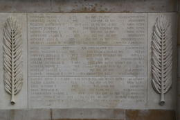 A plaque containing names of personnel on the Wall of the Missing whose remains were later found and interred in the US or the American Cemetery at Normandy. , John C - September 2012