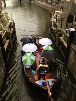 photo taken of people on an open canal boat trip , Sally T - September 2013