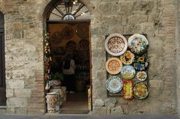 These beautiful porcelain plates adorned many shops through San Gimignano., Jenni S - October 2007