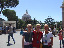 In this plaza we sat under the shade of a Mediterranean Pine while our guide gave us a very interesting/thorough description of the Sistine Chapel paintings. Out of respect he is not allowed to..., Yvette B - August 2013
