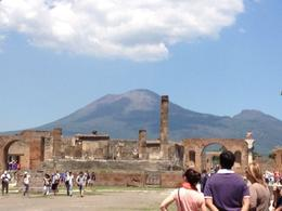 View from the central market square of Pompeii, looking toward the mountain that destroyed it. , Carlisle W - June 2013
