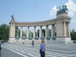 One of several impressive monuments in Hero's Square, Budapest, David F - July 2010