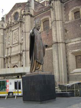 Next to Basilica you may see the monument of Pope John Paul II who visited Mexico 5 times, Olivia Z - March 2009