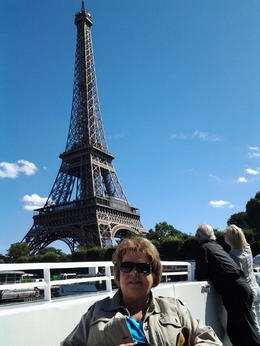 Mom at the Eiffel Tower....Going Up!!! , Gail J - September 2013
