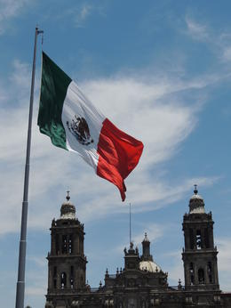 A giant flag flies over Mexico City's main plaza, the Zocalo. , Kevin F - May 2013