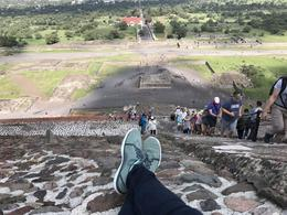 Taking a break at the top of the Pyramid of the Sun , Tammy T - August 2017