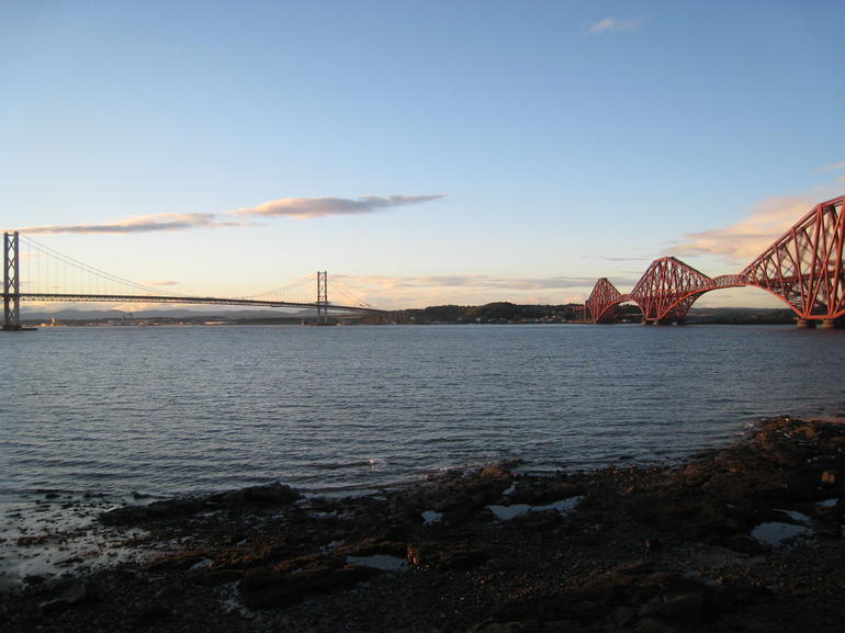 Firth of Forth Road Bridge and Firth of Forth Rail Bridge - Edinburgh