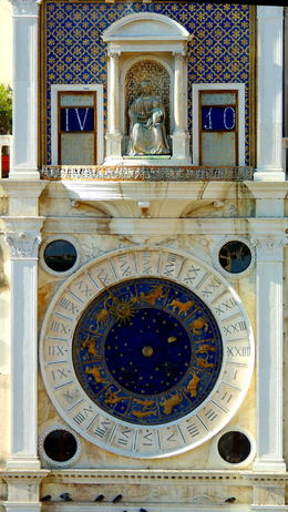 Tower with a medieval 'digital' clock at the San Marco piazza , C S - October 2015