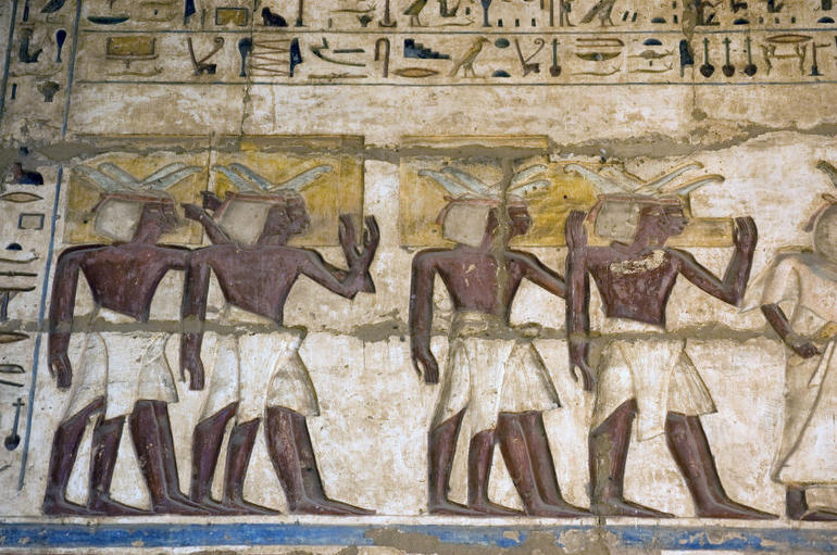Ancient Egyptian Priests painting, Medinet Habu temple, Luxor - Luxor