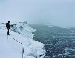Standing near the water's edge at the Gullfoss waterfall. Some walkways were blocked off due to the weather, but you were able to still get a great view of the waterfall. , Jenna C - January 2015