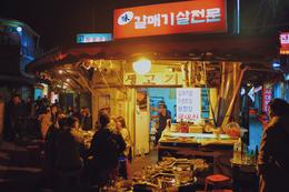Outdoor Korean Barbecue in a back alley. Incredible. , Zachary S - November 2016