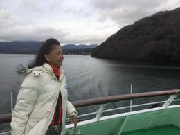 Mom on the cruise of Lake Ashi , Rayhan Tee - December 2016
