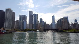 Chicago skyline from the Architecture River Cruise , Kathryn H - July 2017