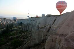 Hot air balloons head into the valley near Goreme., Peter - October 2010