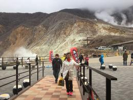At the place in Hakone! So much sulphur gas emitting from the ground. , Rayhan Tee - December 2016