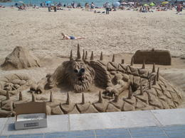 An amassing sand castle built on the beach at Sitges. , David F - August 2011