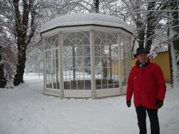 Our tour guide by the Sound of Music gazebo in the snow. , C. M. H - December 2012