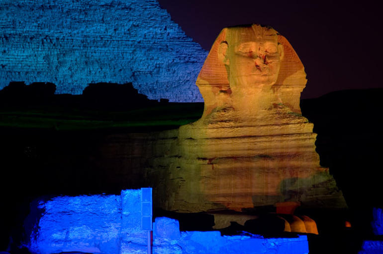 The Great Sphinx at night - Sound and Light Show - Cairo
