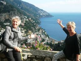 Sitting on the balcony from the restaurant looking down over Positano. , Eraine H - November 2014
