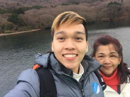 Lake Ashi cruise selfie , Rayhan Tee - December 2016
