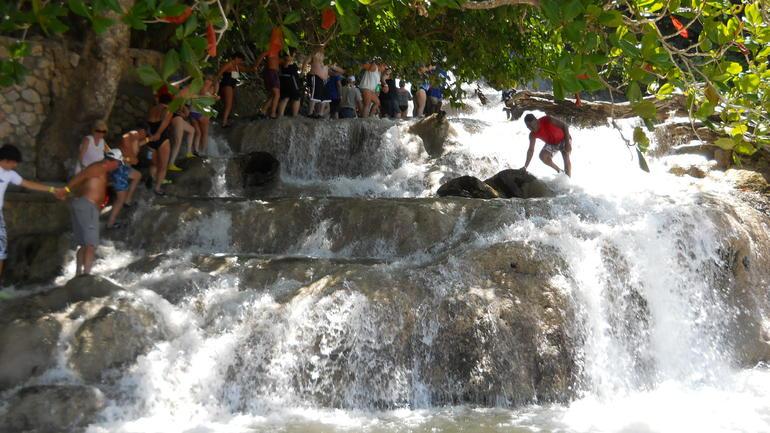 Climbing Dunns River Falls -