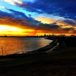 Melbourne sunset, Asha & Brock - July 2013
