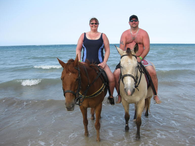 Horseback riding on the beach in Ocho Rios: Water here we come - Jamaica