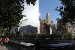 This picture taken at one corner of the memorial pool showing sun reflections from adjacent buildings. , David P - October 2013