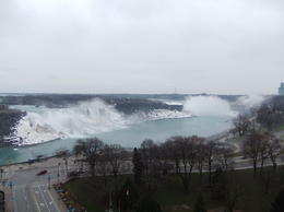 Photo of American Falls (left) and Niagra Falls (right). Photo taken from the balcony of the hotel where we had lunch. March 2011 , Shaun K - March 2011