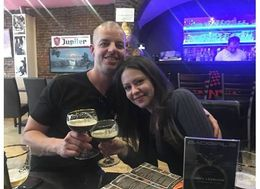 Christian and Veronica Fletcher of Austin, Texas enjoying a cold one or two. , Veronica - April 2015