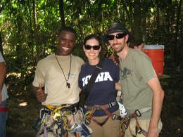 A picture with our favorite canopy tour guide. Picture taken right after our last crossing. An amazing time!, Jason C - April 2008
