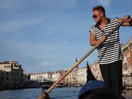 Rialto bridge around 7pm with our handsome gondolier!, Adrian S - August 2009