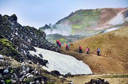Hikers enjoying the Landmannalaugar trail , RM - September 2015