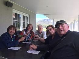 Lyntette, myself, Kyle, Ann and Bruce enjoying the wine at the first vineyard , Mary R - May 2017