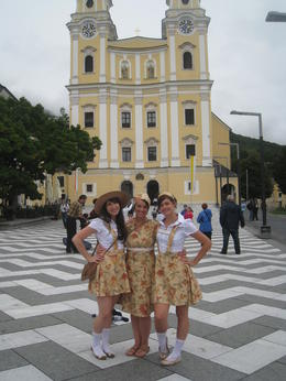 Infront of the cathedral where Maria and Captain Von Trapp get married in the movie, in Mondsee , Erin C - August 2011