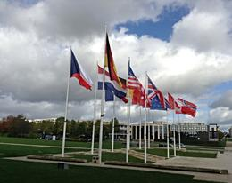 Flags outside representing all the countries who took part in the Battle. , Ashanda - October 2013