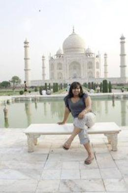 Posing in front of the Taj Mahal - September 2012