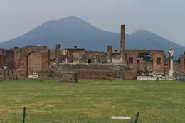 The ruins of the Temple of Jupiter with Mt Vesuvius rising ominously in the background. - May 2008