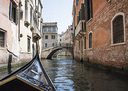 Sitting in the gondola as we toured the canals. , Glenn G - June 2016