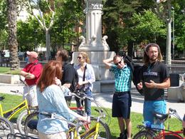 Buddah giving us background on Barcelona during the bike tour. , Michael - May 2011