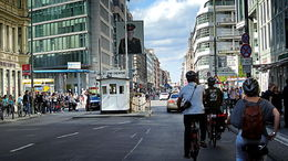 Checkpoint Charlie with a bike , C S - May 2015