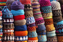 Colourful fez market stall in the Marrakech souk (medina) - June 2011